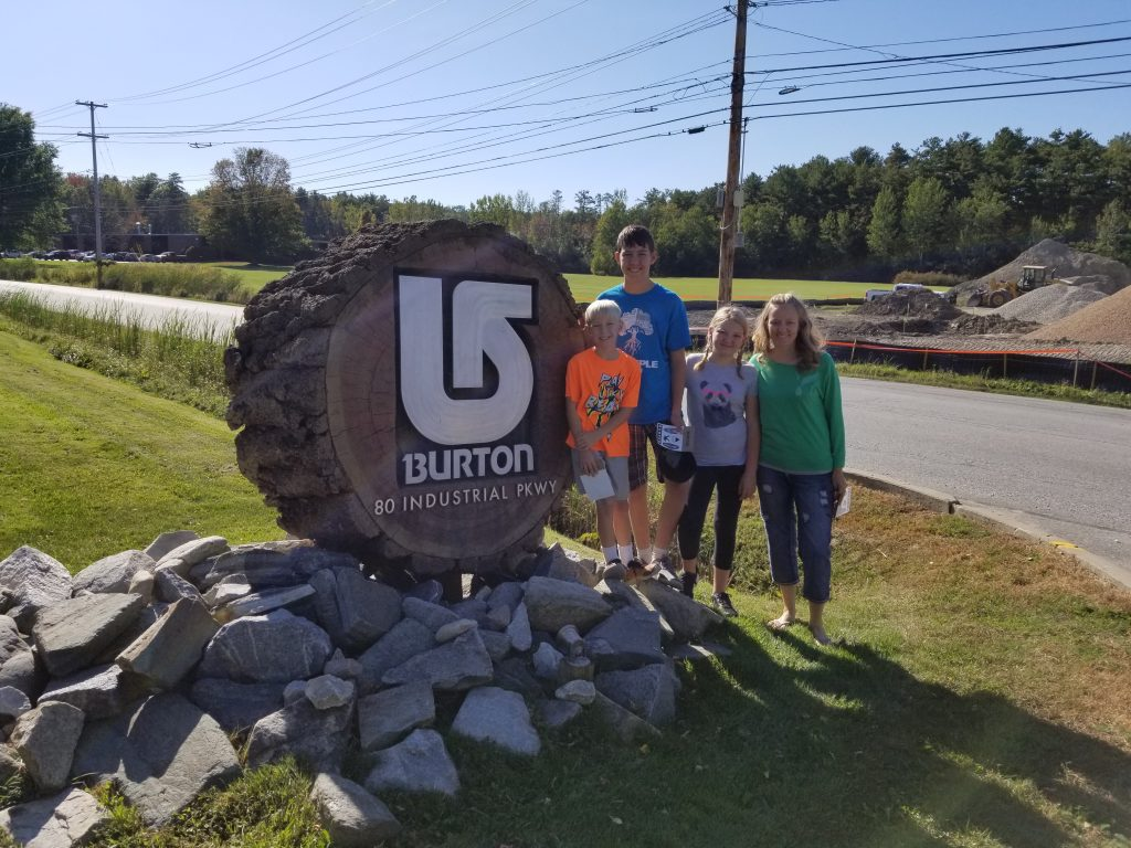 Burton Snowboards Burlington Vermont. Vermont Factory Tours. Using factory tours for homeschooling. Traveling full time to teach STEM.