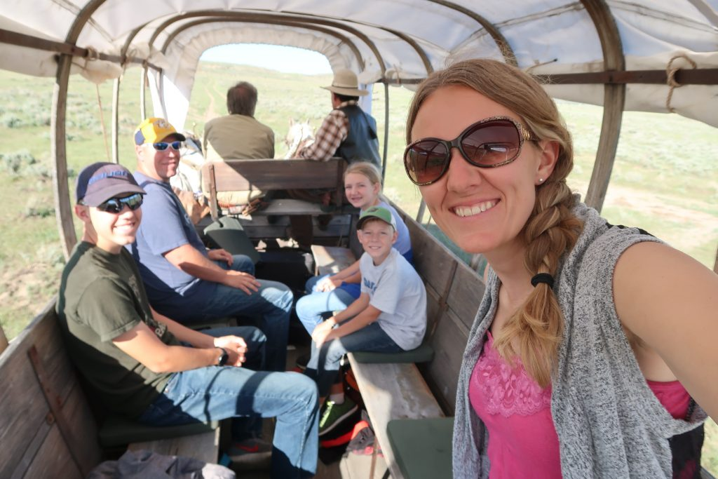Family on Oregon Trail, Homeschool Fieldtrip Wyoming, History Fieldtrip Wyoming, Covered Wagon Ride Oregon Trail