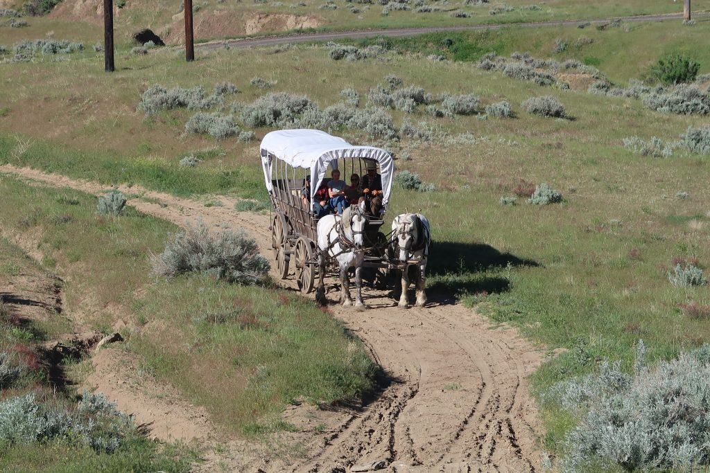 Covered Wagon ride on Oregon Trail, Things to do in Casper Wyoming, Homeschool fieldtrip Wyoming